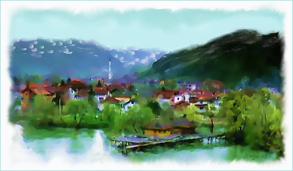 Small bosnian village digital painting